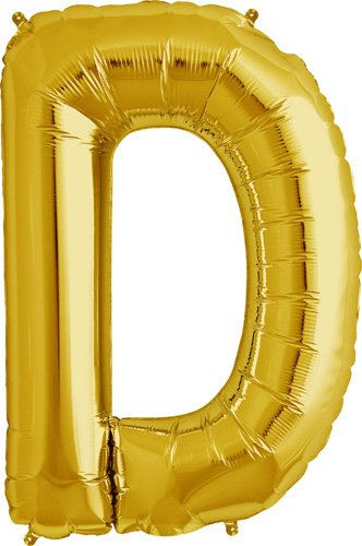 Letter D - Gold Helium Foil Balloon - 34 inch