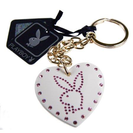 Playboy Schlüsselanhänger aus einem Herz aus Kunstoff mit rosa Swarovski Kristallen, von International Connection