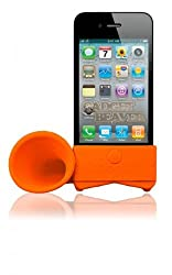 2010kharido For Apple iPhone 4 4S Portable Silicone Horn Stand Audio Dock Amplifier Speaker Orange