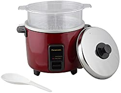 Panasonic Metal Electric Rice Cooker, 2.7 Litres, 5 Piece, Burgundy