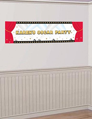 "Amscan Elegant Hollywood Personalized Giant Party Sign Banner, 65"" x 20"", Black/Red"