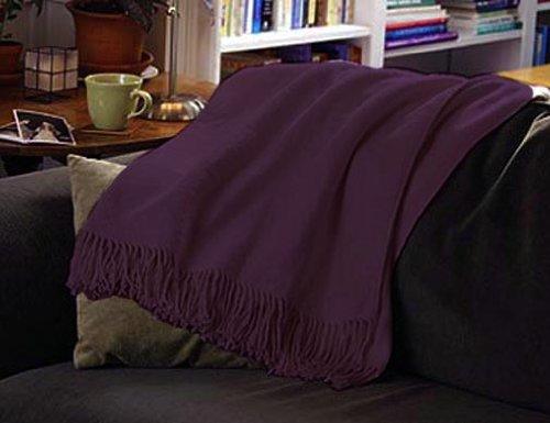 Marrikas Pure Silk Fleece Throw 50X72 Plum front-1018571