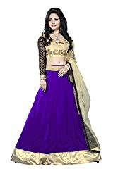 JIYA FASHION NEW DESIGNER LEHENGA BLUE+BEIGE