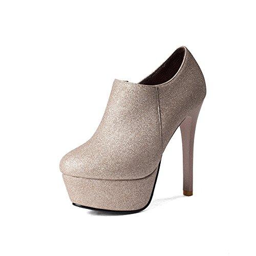 AllhqFashion Donna Cerniera Punta Tonda Tacco A Spillo Alla Caviglia Stivali con Seta, Oro, 33