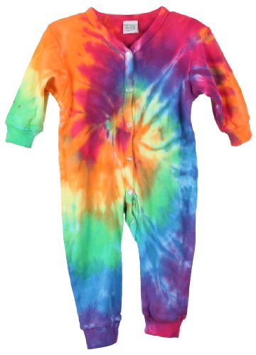 Chilllykids Baby Girls 100% Cotton Tie Dye Print Footie - Sizes 3-18 Months