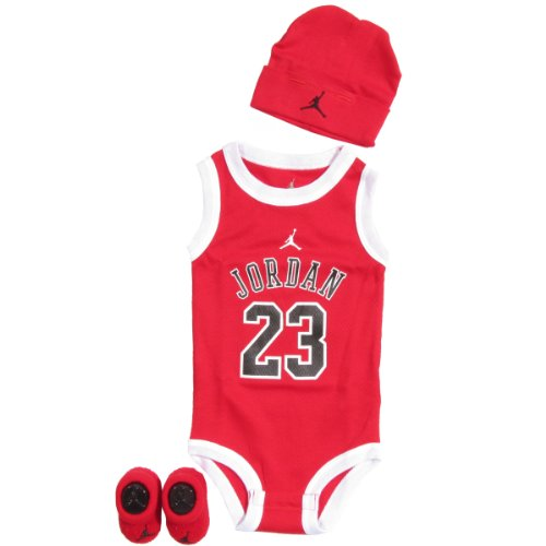 Jordan 3 Piece Infant Set Ibsp524-Red (0 To 6 Months, Red/White)