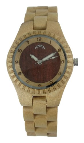 Thyfashion Women's Yellow Wooden Watches Round Yellow and Purple Dial Lady Watch with 30 Mm Size W00011