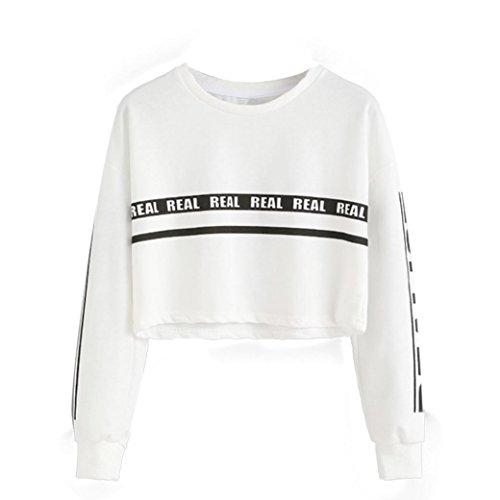 Amlaiworld Donna Camicetta,Moda lettera stampa colture Felpa bianco Top (S)