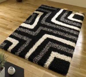 Tides Black Cream Grey Modern Shaggy Home Rug 4 SIZES AVAILABLE, 120x160cm (4ft0''x 5ft6'') from Modern Style Rugs