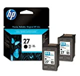 HP 27 Black - 2 Original Printer Ink Cartridges for HP Deskjet 3320 3320V 3322 3323 3325 3420 3425 3450 3520 3520V 3520W 3535 3538 3550 3550V 3550W 3558 3600 3620 3645 3647 3650 3650V 3651 3651V 3652 3652V 3653 3653V 3658 3658V 3668 3668V 3740 3743 3744