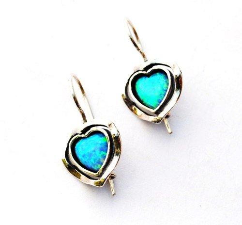 Lior Sterling Silver & Blue Opal Heart Earrings