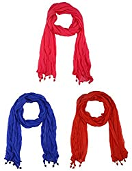 Fabkart Women's Synthetic Dupatta (Pack of 3) (Chiffon3du_Multi-Coloured_Free size)