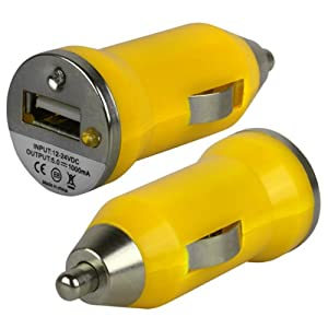 iGloo Bullet USB Compact Travel Adapter In Car Charger For Apple iPod Classic Mini Nano Shuffle Touch - Yellow