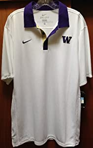 Nike UW University of Washington Dri Fit Polo T Shirt - WHITE by Nike