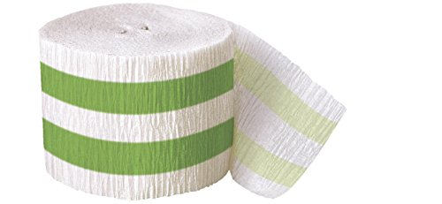 30ft Lime Green Striped Crepe Paper Streamers - 1