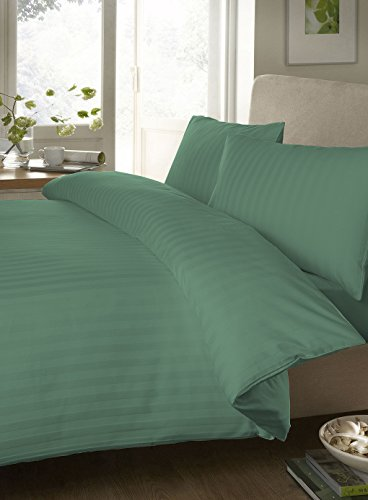 "Egyptian Cotton Fitted Sheet With 28"" Deep Pocket 450 Thread Count Stripe ( Cal-King ,Aqua Blue ) By Bedding Spa"