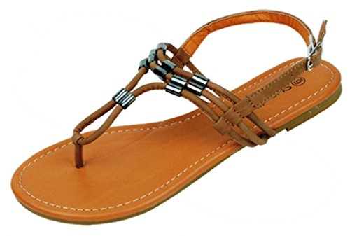 Hazel'S Star Women'S Fashion Flip Flop With Extra Padded Soft Insole, Tan, Size 8 (M) Us front-416763