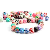 HYBEADS 100pcs Mixed Lots Rose Flower Fimo Polymer Clay Beads DIY Crafts 8mm Round (Color: assorted)