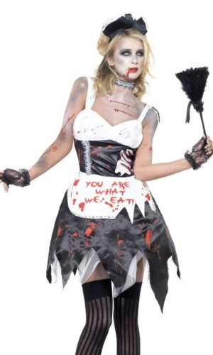 Fever Women's Zombie French Maid Costume with Dress Latex Collar