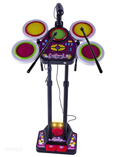 Wolvol (Black) Kids Fun Electronic Drum Set With Sing-Along Microphone On Stand (Adjustable Height From 23 - 36 Inches) - Lights, Cheering, Recording & Various Functions