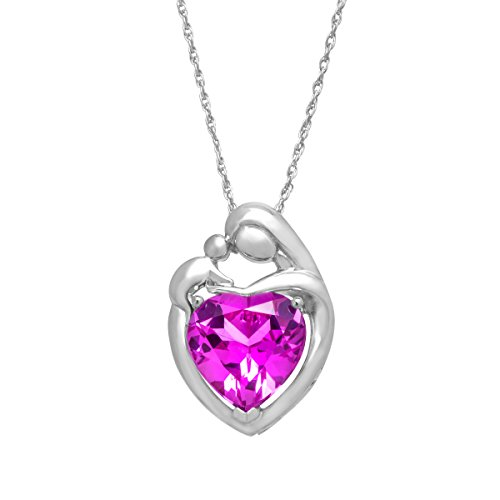 4 1/2 ct Created Pink Sapphire Mother and Child Pendant Necklace in Sterling Silver, 18
