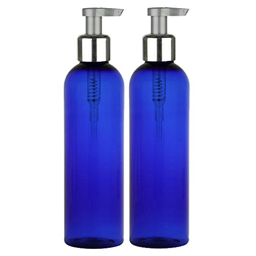 Moyo Natural Labs 8 oz lotion bottles with Elegant Silver Tone Pump BPA Free Food Safe Lotion Bottle Blue Pack of 2 (Foaming Pump Essential Oil compare prices)