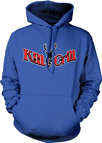Kill And Grill Hooded Sweatshirt, Funny Grilling Bar-B-Que Kill & Grill Design Hoodie (Royal Blue, Large)