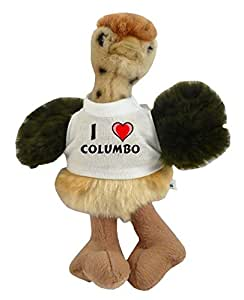 Personalised ostrich plush toy with I love Columbo T-Shirt (first name/surname/nickname)