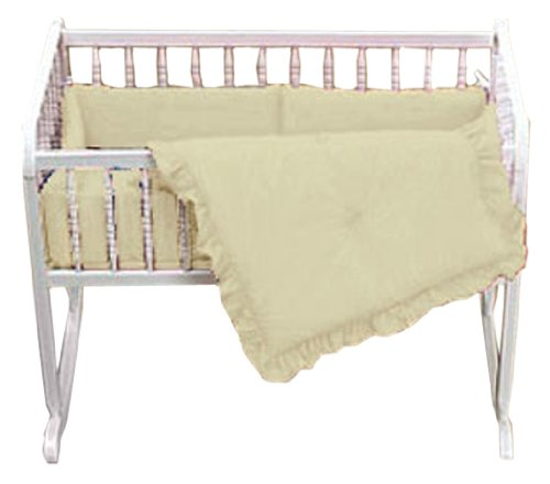 Baby Doll Bedding Solid Port-A-Crib Set, Ecru back-922101