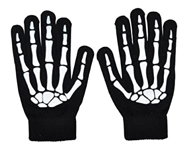 Simplicity Graphic Gloves with Glowing Skeleton and Skull Prints, Black from AMC
