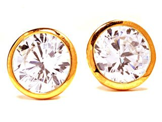 Sterling Silver Plated 18k Yellow Gold Cubic Zirconia 10mm Stud Earrings Ct.tw 4.00