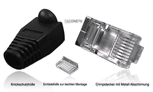 faconet® 10x connettore Crimp Nero Kat 6, 5e RJ45per cavo di rete internet LAN schermato, rivestiti in metallo, protezione antipiega e passacavo, Cat 6& 5e spine