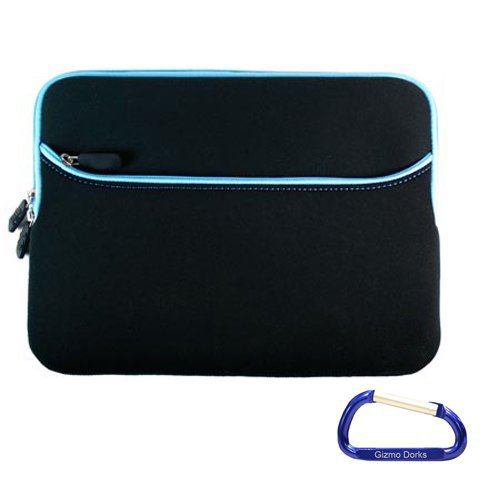 Gizmo Dorks Neoprene Zipper Sleeve (Black with Blue Trim) with Carabiner Key Chain for the Acer Aspire One 722 Series, Chromebook AC700