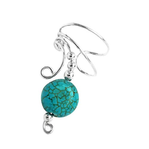 Sterling Silver Left Only Turquoise Disc Wave Ear Cuff Wrap