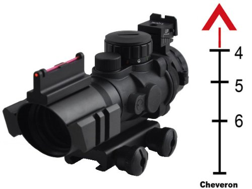 Tactical Scope With Front Fibe Optics Sight And Side Rail With Chervon Reticle