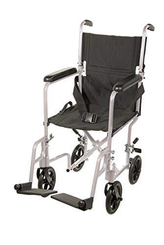 "Drive Medical Aluminum Transport Chair, 19"", Silver"