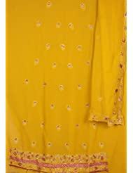 Exotic India Old-Gold Suit With Parsi-Embroidered Bootis And Gota Wor - Old-Gold