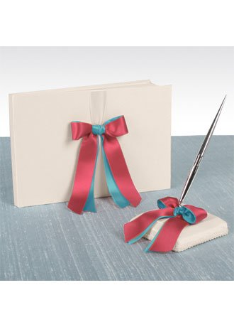 Double Ribbon Guest Book & Penholder