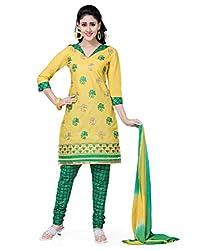 Saree Swarg Yellow and Green Dress Material