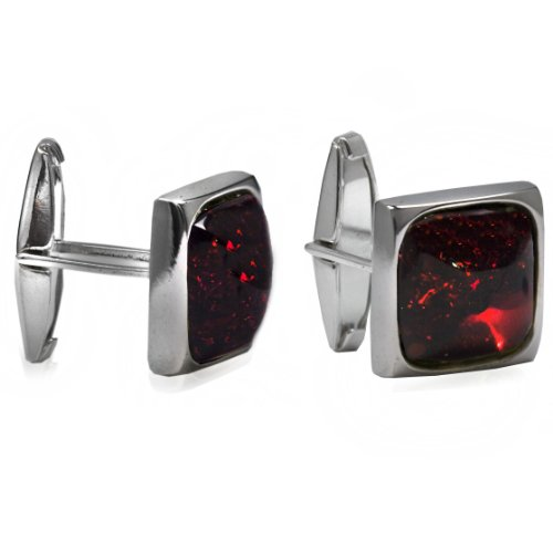 Men's Sterling Silver Cherry Amber Square Medium Cuff Links