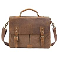 "Kattee Vintage Canvas + Real Leather Messenger Bag Tote, Fit 14"" Laptop from Kattee"