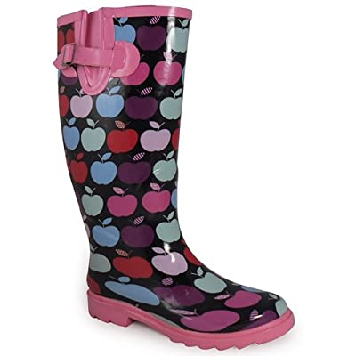 NEW WOMENS LADIES PINK APPLE WATERPROOF WELLIES WELLINGTON BOOTS SIZES 4-8
