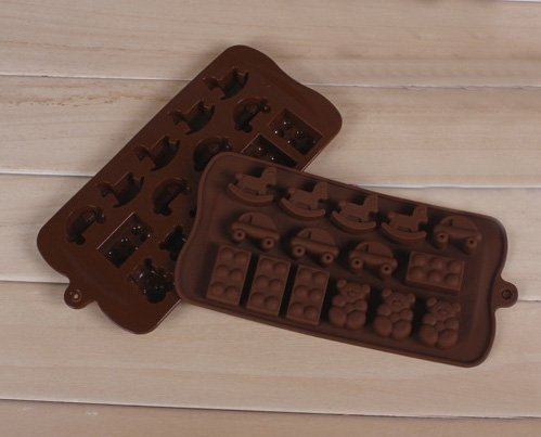 Jade Onlines 15-Cavity Adorable Cartoon Bear Horse Car Shaped Ice/Cake/Chocolate/Sugar Decorating Silicone Mini Cube Craft Fondant Mold Tray(Send By Random Colour)