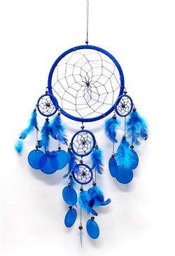 ドリームキャッチャー 貝の飾り付 マリンブルー 全長55cm 最大円直径17cm ¥ 1,260