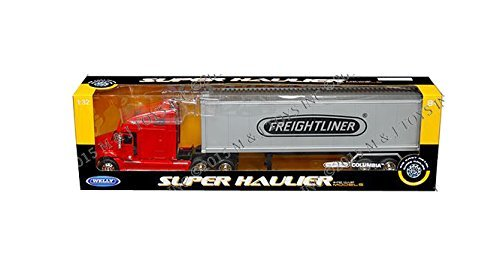 Welly Freightliner Columbia Super Hauler Tractor Truck and Trailer 1/32 Scale Diecast Model Red (Freightliner Diecast compare prices)