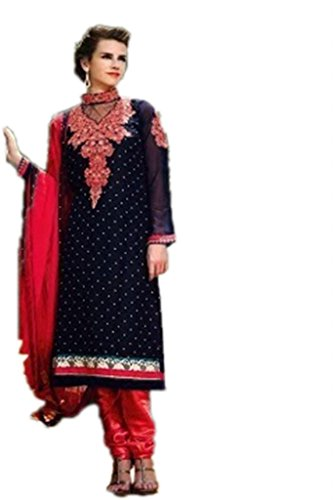 Red Shivam Black & Red Coloured Anarkali Suit (Multicolor)