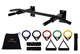 Wacces New Wall-Mounted Chin Up Pull Up Push Up Bar + 5 Resistance Bands for Body Building, exercises, six packs