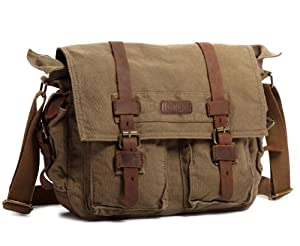 "Kattee® Retro Unisex Canvas Leather Messenger Shoulder Bag Fits 14.7"" Laptop from Kattee"