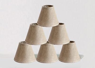 Urbanest Linen Chandelier Lamp Shades, 6-inch, Hardback Clip On, Oatmeal(set of 6)