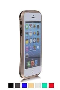 MulBess Doppel-Farbe Blade Aluminium Premium Bumper Hülle Case für Apple iPhone 5/5S - Gold-Version III